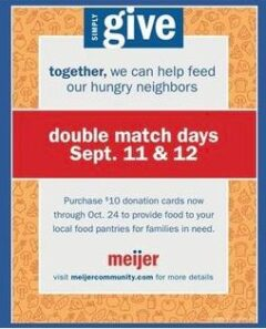 Oxford/Orion FISH pantry: Meijer Simply Give double Match Days